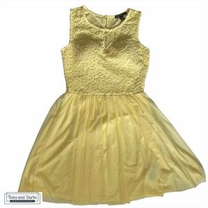 Suzy Shier Yellow Lace Bridesmaid Dress